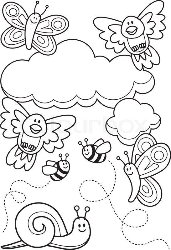 Vector illustration of Farm animal cartoon coloring book | Stock ...