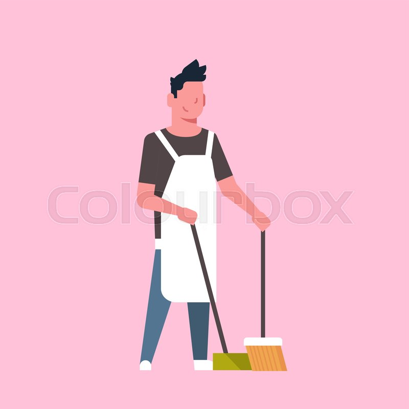 man sweeping floor with broom and stock vector colourbox man sweeping floor with broom and