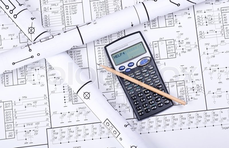 blueprint crosswise and calculator stock photo colourbox