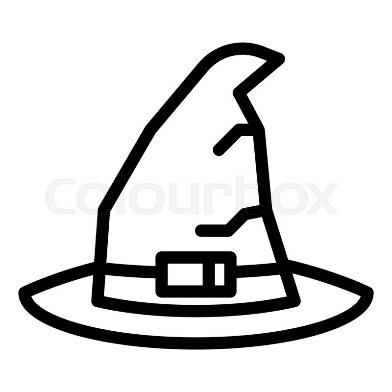 Witch Hat Line Icon Wizard Hat Vector Stock Vector Colourbox