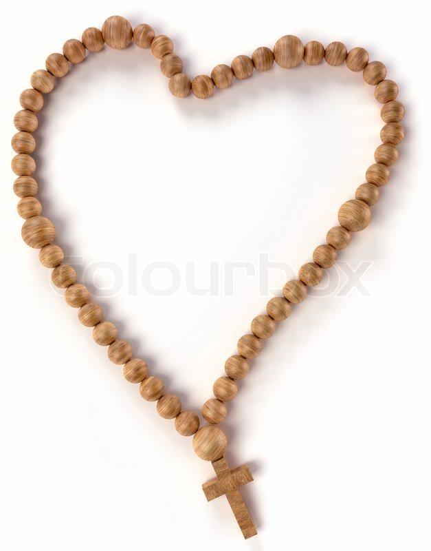 Chaplet or rosary beads heart shape | Stock Photo | Colourbox