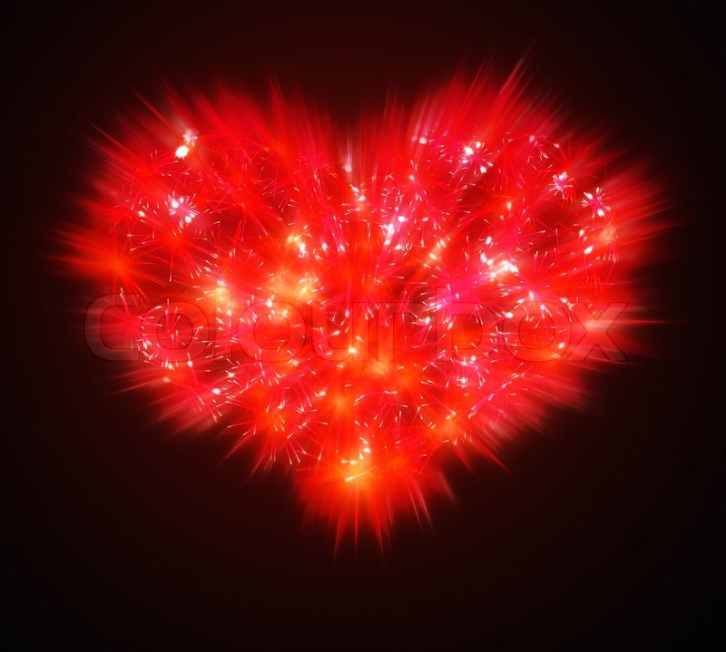 Abstract Valentines Day Red Fireworks Heart Shape Stock Photo