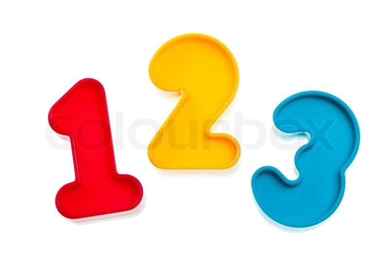 Plastic numbers 123   Stock Photo   Colourbox