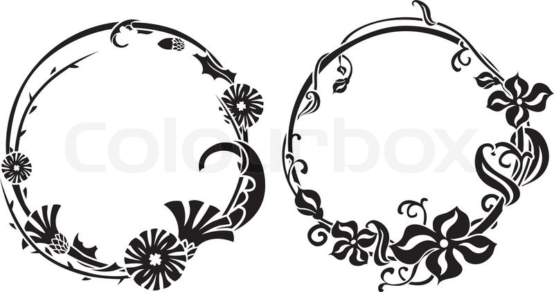 Two black wreath in art nouveau style | Stock Vector ...