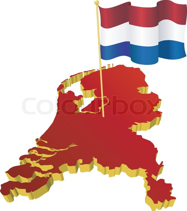 Threedimensional image map of Netherlands with the national flag