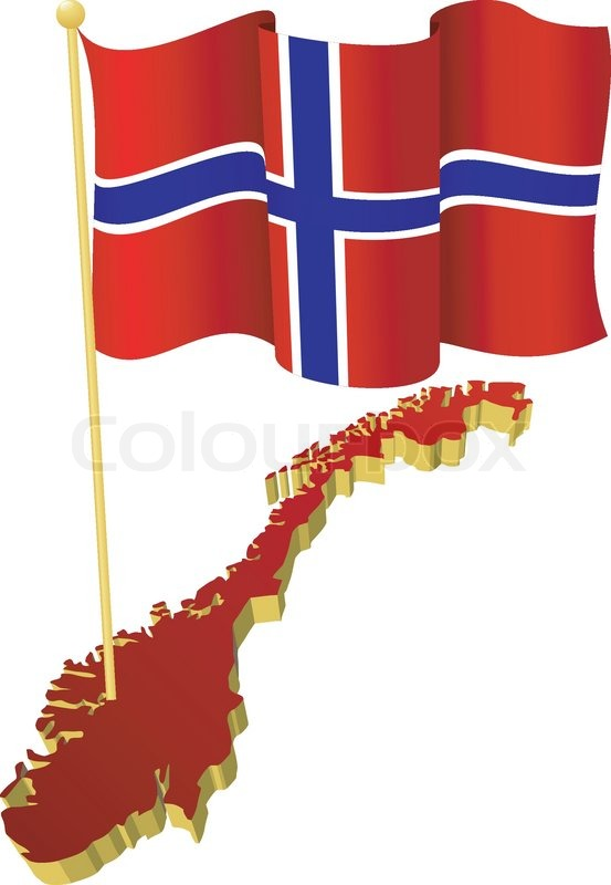 Threedimensional Image Map Of Norway With The National Flag - Norway map and flag