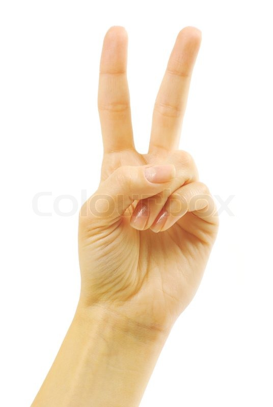 Hand With Two Fingers Up In The Peace Or Victory Symbol Also The