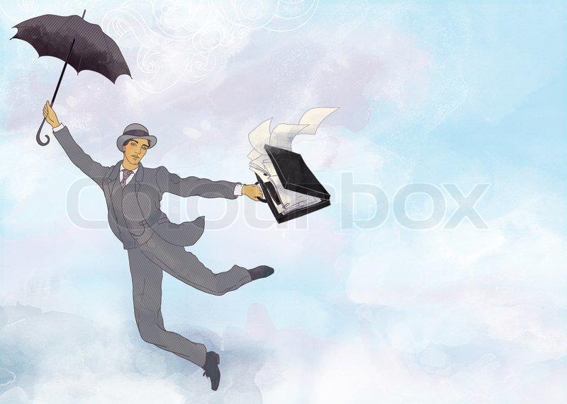 abbildung des kaufmanns fliegen im freien mit regenschirm in der hand auf aquarell hintergrund. Black Bedroom Furniture Sets. Home Design Ideas