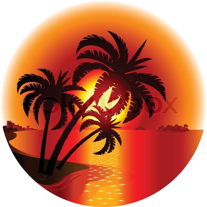 Tropical Island Sunset Clipart Sunset on a Tropical Island