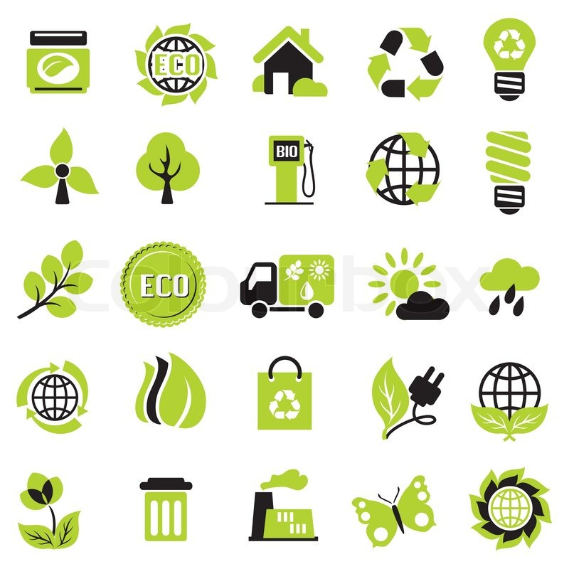 Set Vector Icons Ecological Signs Symbol