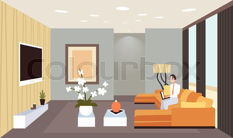 Business Man Sitting On Couch Using Stock Vector Colourbox