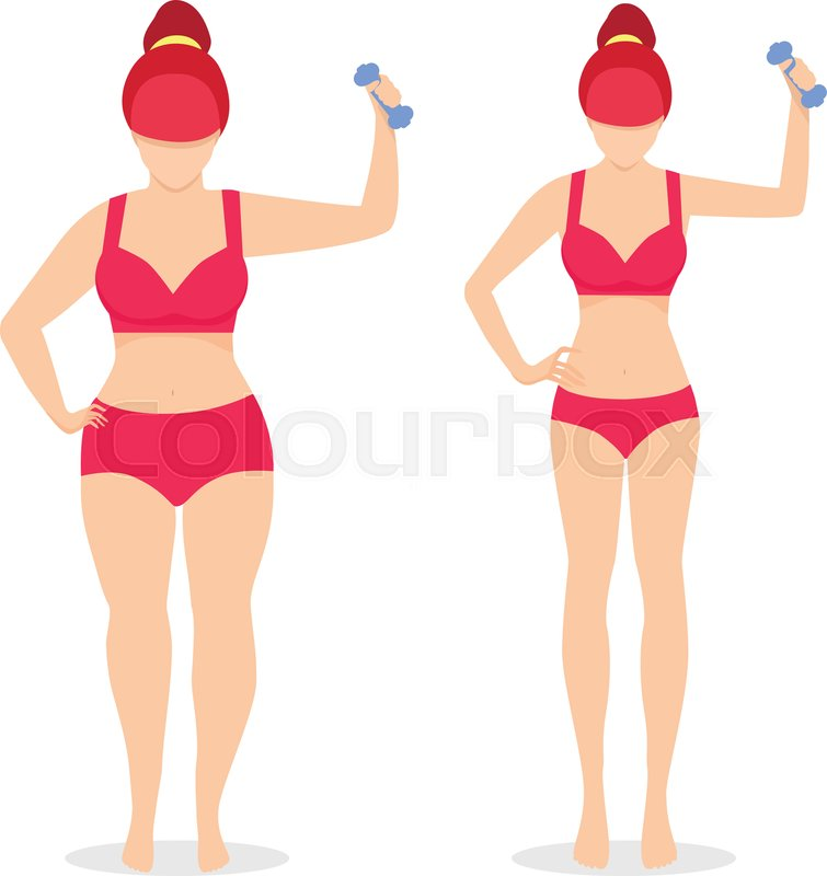 Fat And Slim Woman Before And After Stock Vector Colourbox
