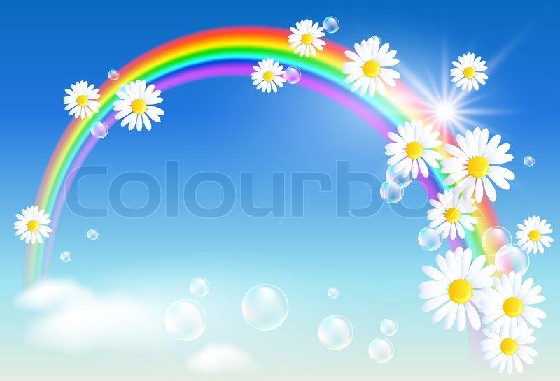 Rainbow And Flowers Stock Vector Colourbox