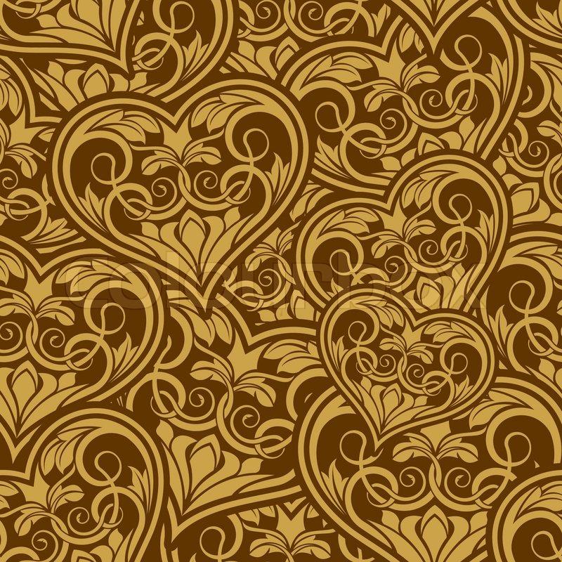 Wedding Gold Seamless Wallpaper Pattern With Heart