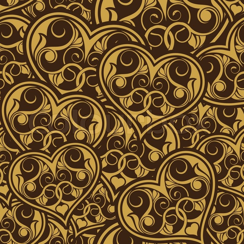 Wedding Gold Seamless Wallpaper Pattern With Heart Stock