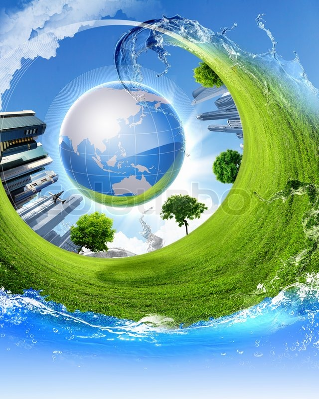 Green Nature Landscape With Planet Earth Stock Photo