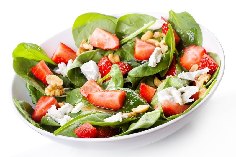 salat mit erdbeeren blattspinat und feta k se stockfoto colourbox. Black Bedroom Furniture Sets. Home Design Ideas