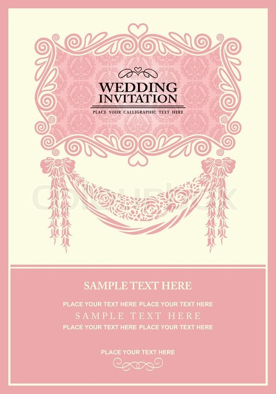 3892650 Wedding Invitation Card Abstract Background Vintage Frame And Banner Pink Damask