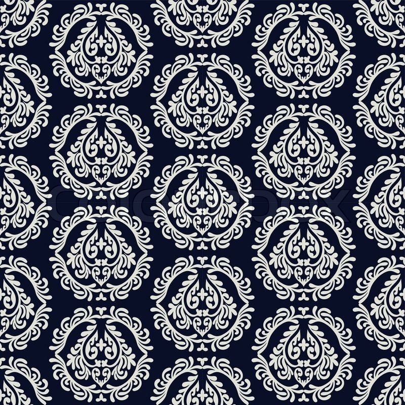 Abstract backgrounds damask ornament monochrome seamless for Arabesque style decoration