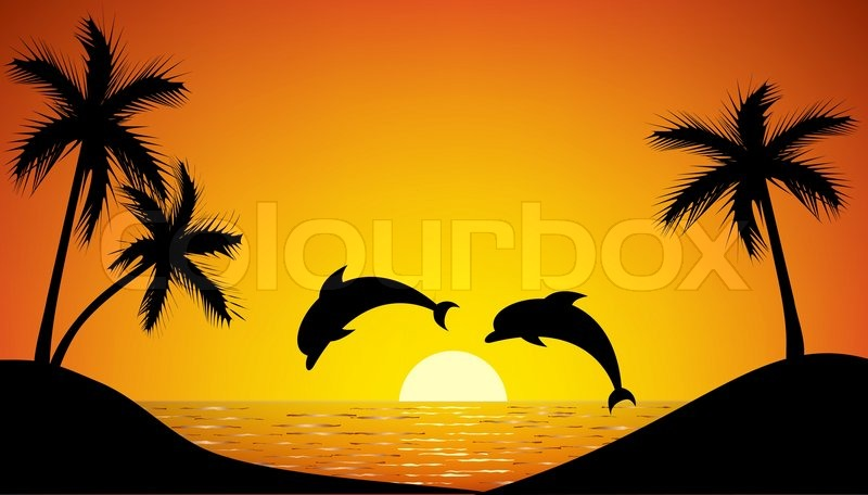 dolphins jumping out of the water at sunset drawing