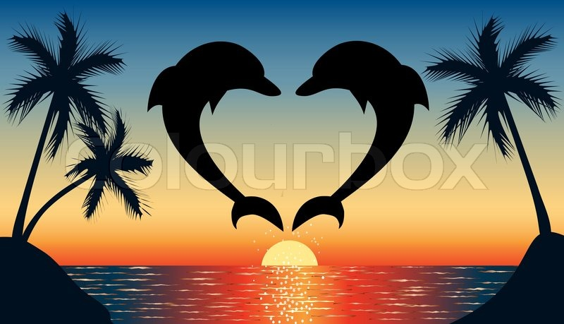Jumping Up Dolphin Shaped Heart With Sunset Vector