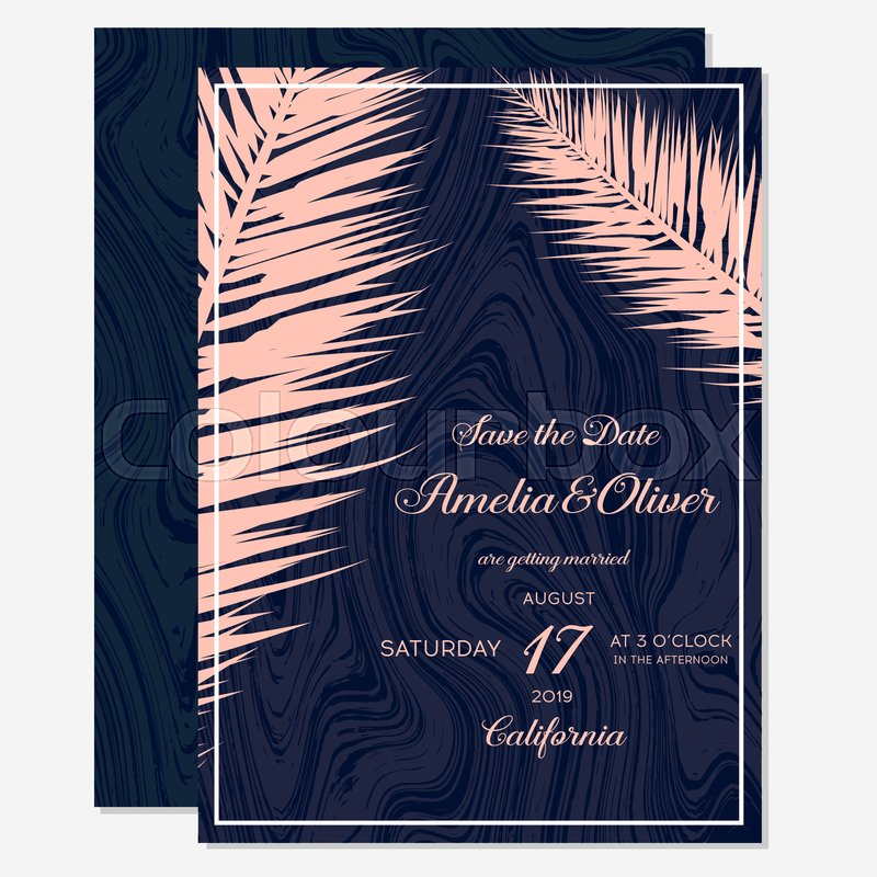 Set Wedding Invitation Cards With Gold Stock Vector Colourbox