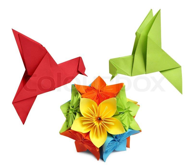 Origami Hummingbird Stock Photo