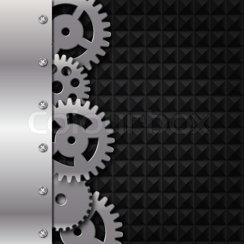 Abstract Metal And Glass Background With Frame And Gears Vector  Illustration | Stock Vector | Colourbox