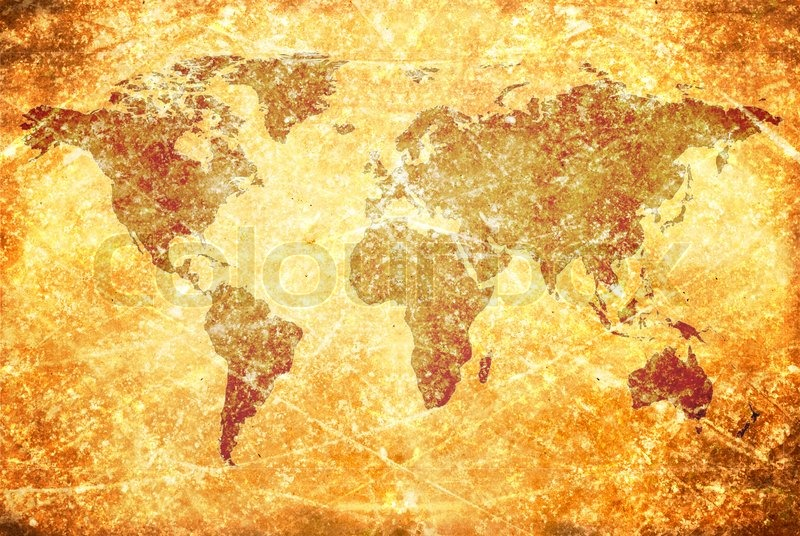 Agedvintage world map texture and background | Stock Photo | Colourbox