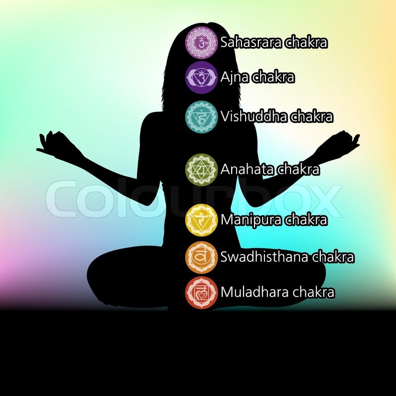 Silhouette Of Woman With Symbols Of Chakra Eps 8 Stock Vector
