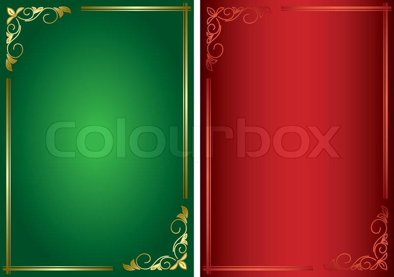 set decorative green and red vector frames