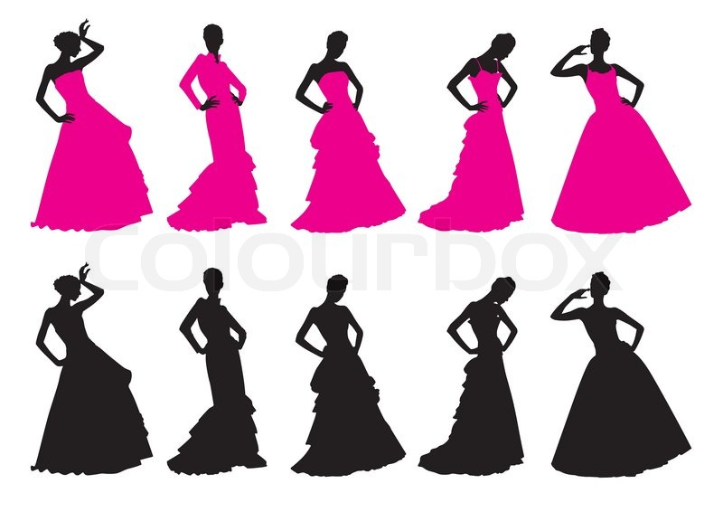 silhouettes of girls in wedding dresses stock vector colourbox