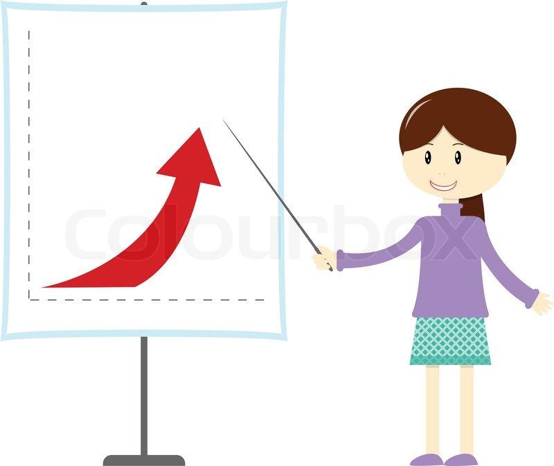 cartoon girl at the presentation stock vector colourbox