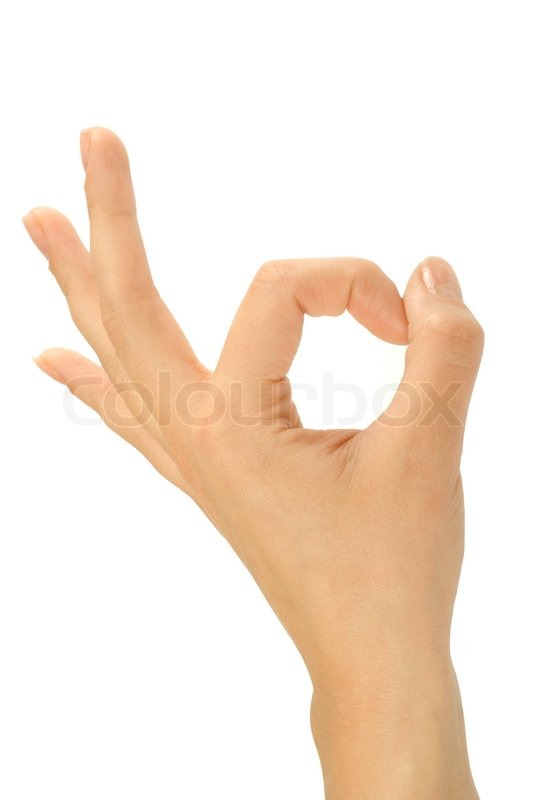 Ok Hand Sign Isolate On The White Stock Photo Colourbox