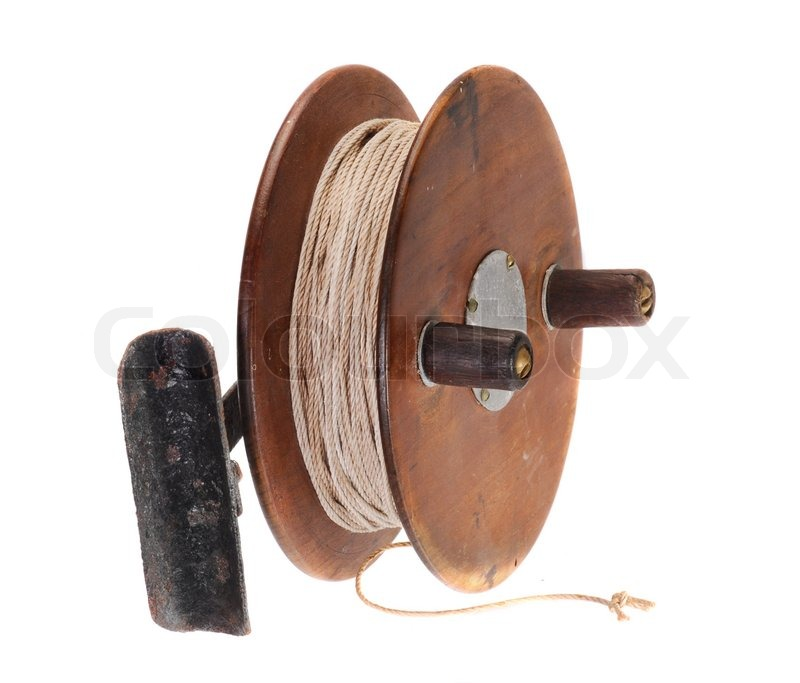 Old fishing reel of wood stock photo colourbox for Antique fishing reels price guide