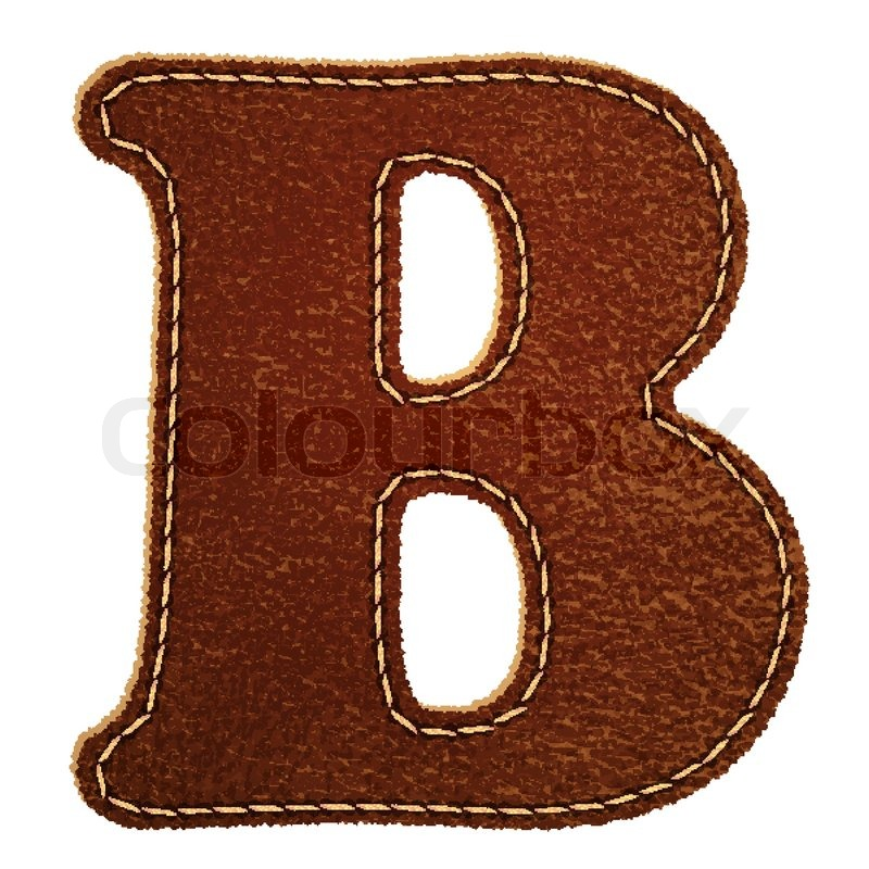 Leather alphabet Leather textured letter B Stock Vector