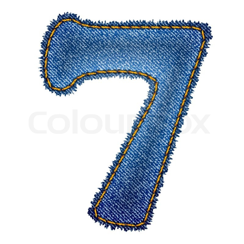 Jeans alphabet Denim number 7 | Stock Vector | Colourbox