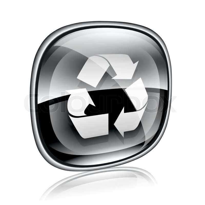 Recycle Glass Symbol Recycling Symbol Icon Black