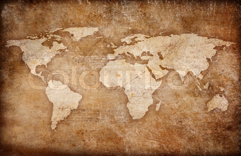 Grunge world map background Stock Photo Colourbox