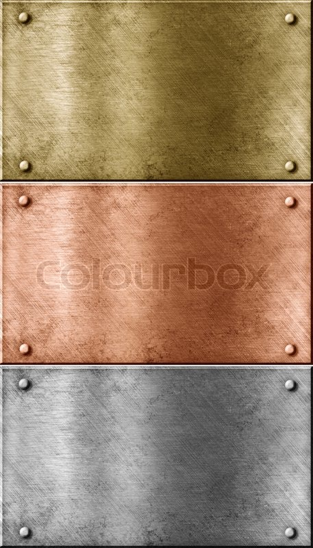 Metal Plates Set Including Bronze Copper Gold Brass And