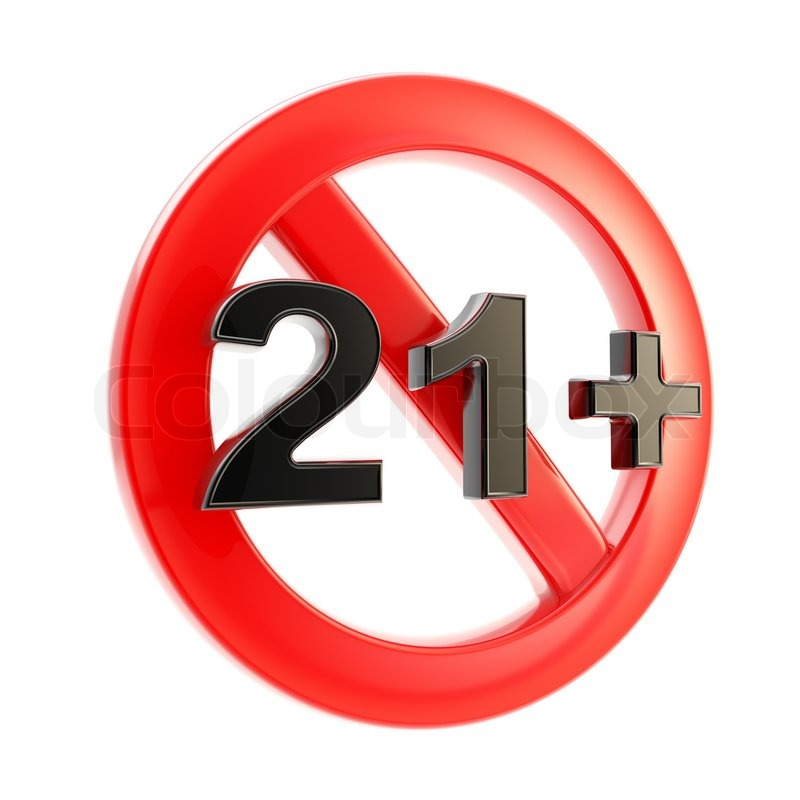 Adults Only 21 Up: Adult Content As Age Limit 21+ Round Symbol Sign Isolated