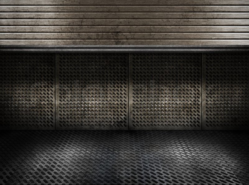 Grungy Metal Industrial Plates Room With Rolled Up Door