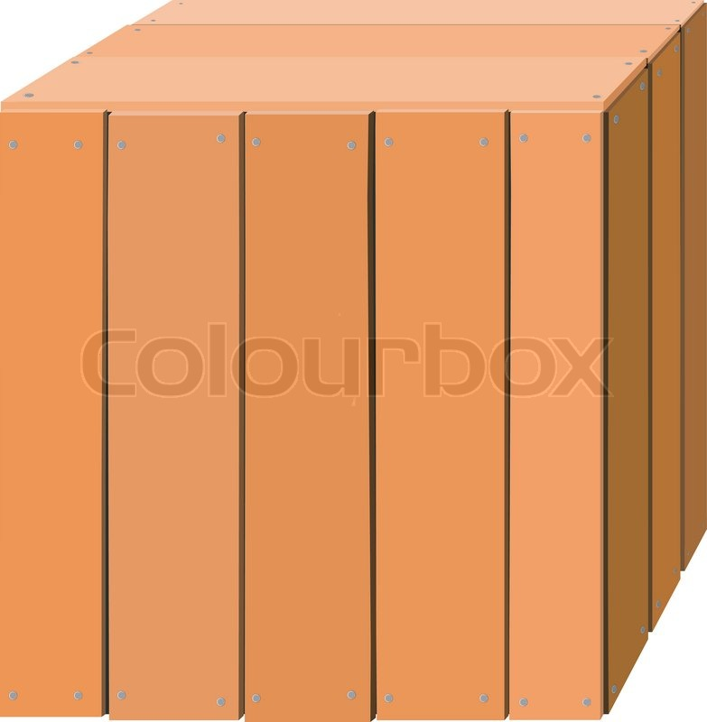 Illustration of a wooden box | Stock Vector | Colourbox