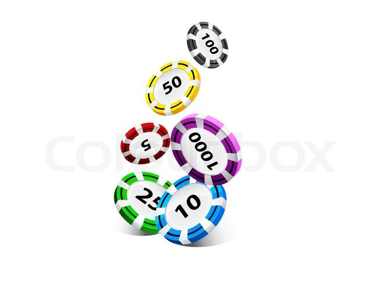 Illustration of falling poker chips   Stock vector