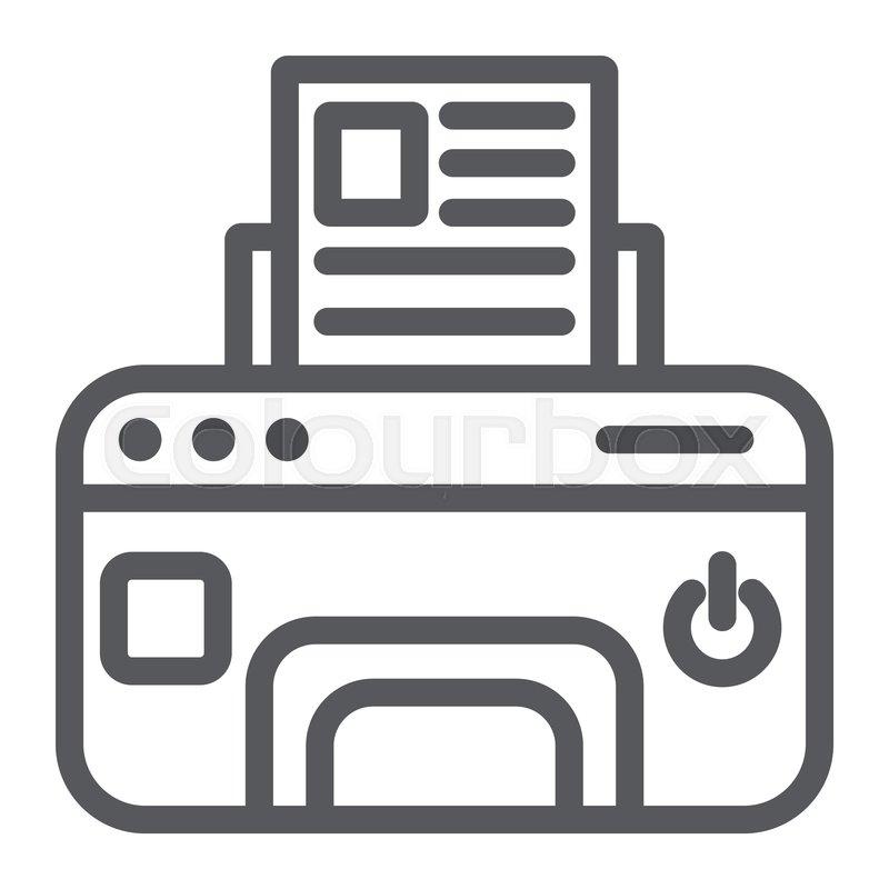 printer line icon device and print stock vector colourbox colourbox