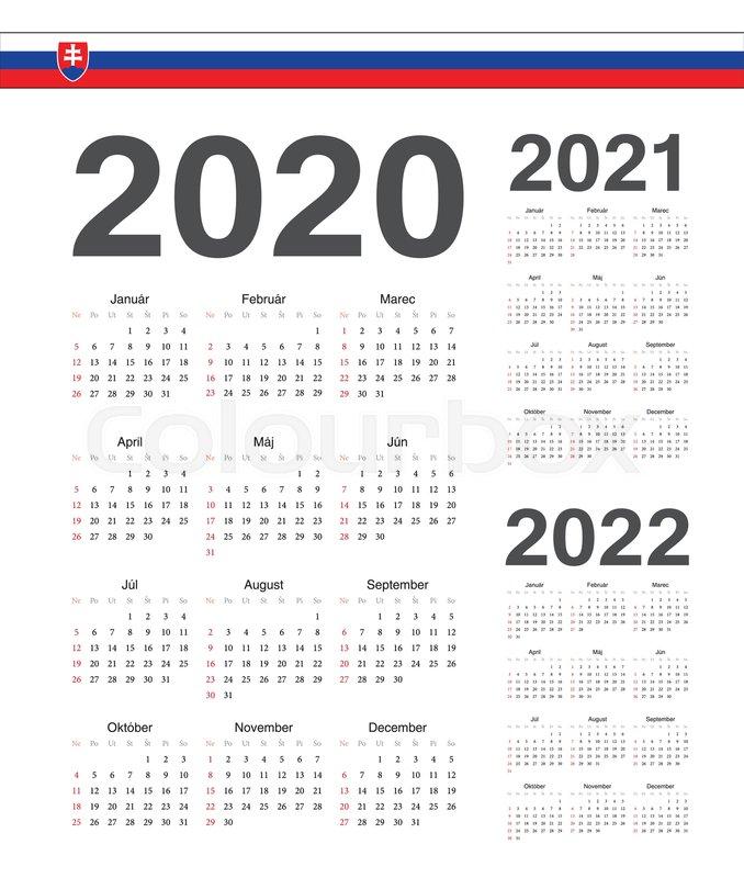 Ut Calendar Fall 2022.Set Of Simple Slovak 2020 2021 2022 Stock Vector Colourbox