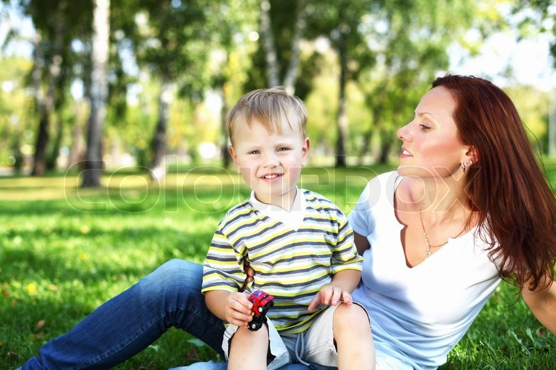 Young Mother With Her Son In Summer   Stock Photo -3704