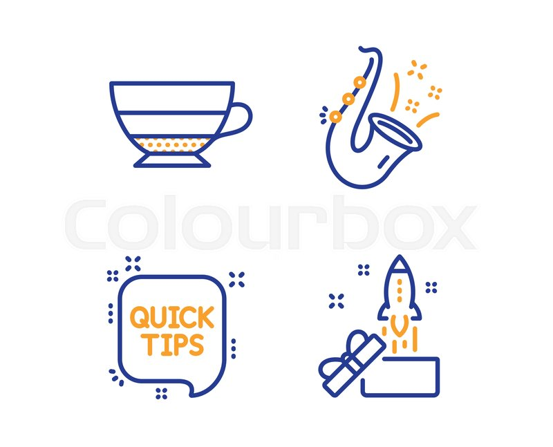 Jazz, Quick tips and Americano icons     | Stock vector
