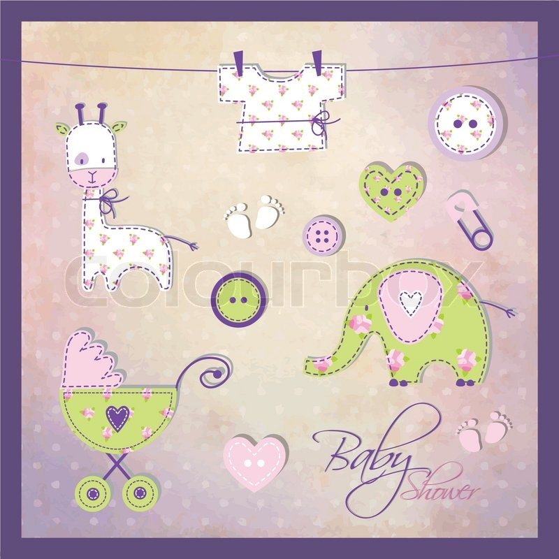 Baby Shower Design Elements For Scrapbook Stock Vector Colourbox