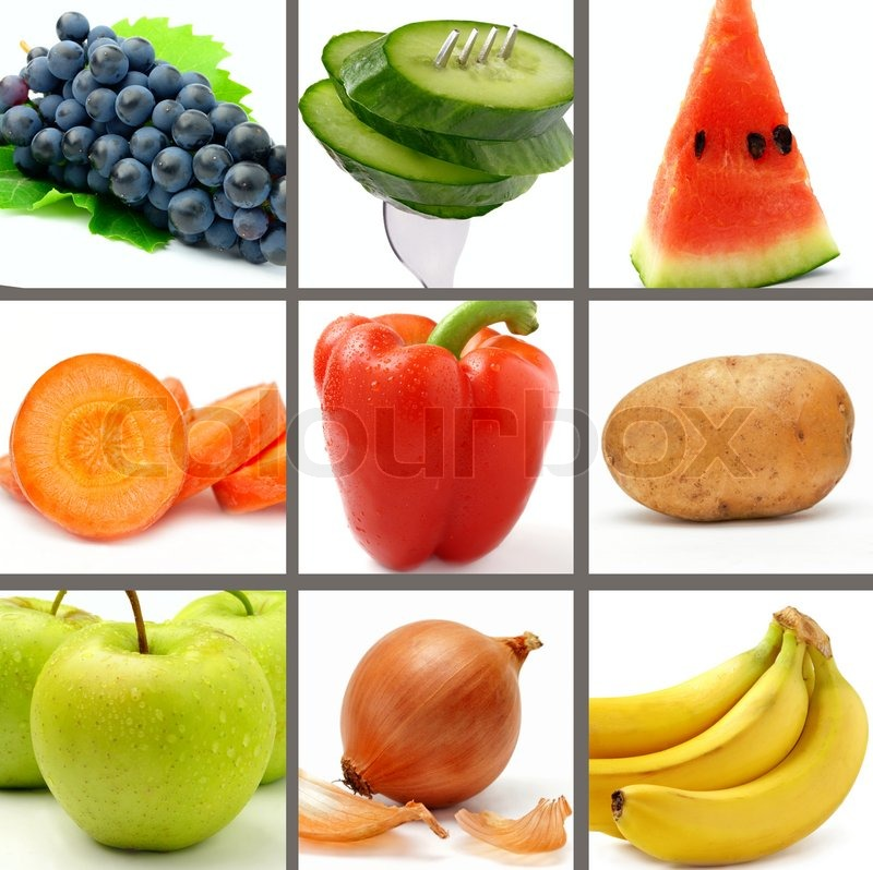 Stock image of 'Set of bright and juicy fruits and vegetables on a white background'